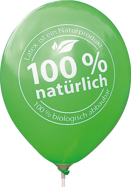Luftballon mit Aufdruck 100% natürlich