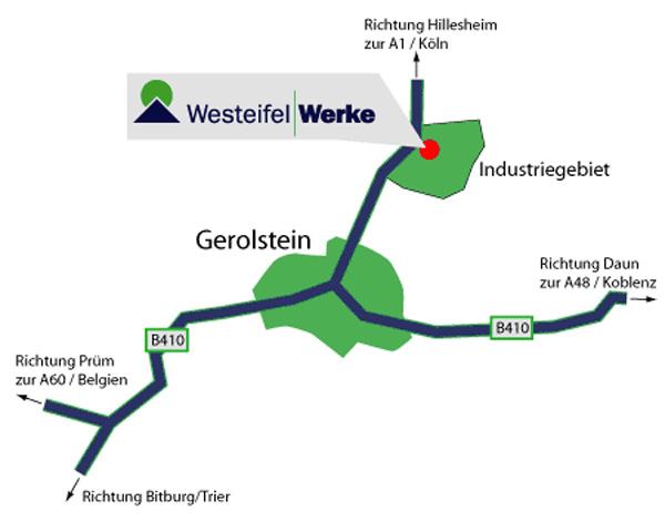 Anfahrtskizze zu den Westeifel Werken Gerolstein in der Ortsansicht