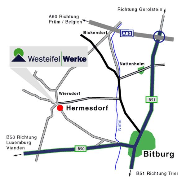 Anfahrtskizze zu den Westeifel Werken Hermesdorf in der Ortsansicht