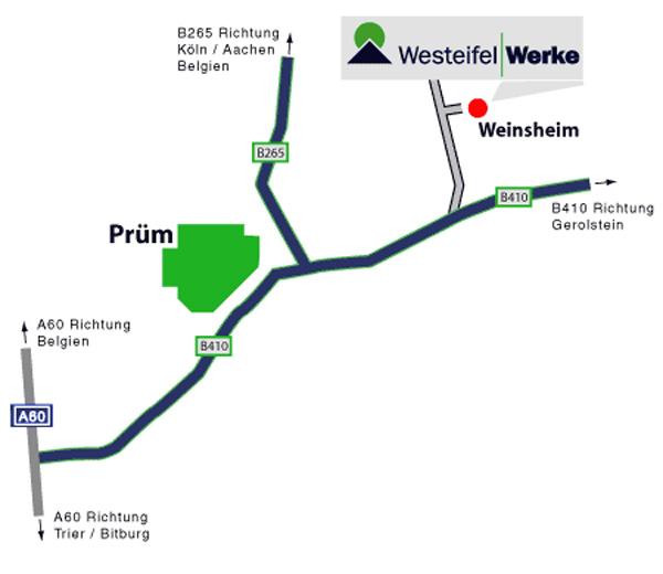 Anfahrtskizze zu den Westeifel Werken Weinsheim in der Ortsansicht