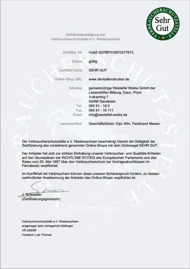 """Zertifikat """"Sehr gut"""" der Verbraucherschutzstelle e.V. Niedersachsen für die-ballondrucker.de"""