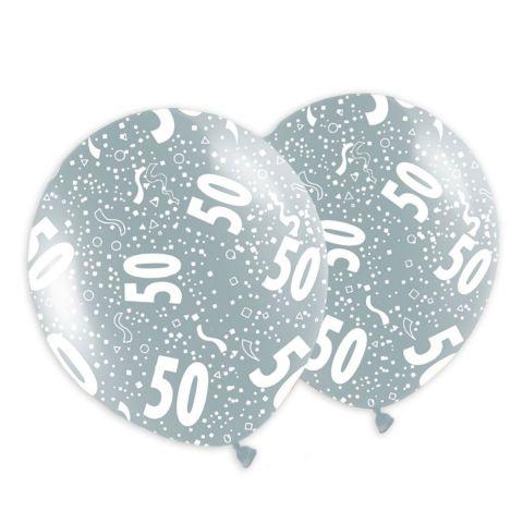 """Bunte Metallicballons mit Aufdruck """"50"""" und Konfetti. Rundum bedruckt."""