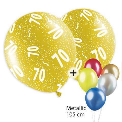 """bunte, bedruckte Ballons mit """"70"""" und Konfettimotiv plus unbedruckte Metallicballons"""