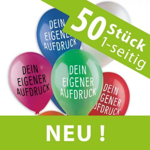 NEU: Sonderangebot: 50 bedruckte Luftballons, Aufdruck 1-seitig 1-farbig