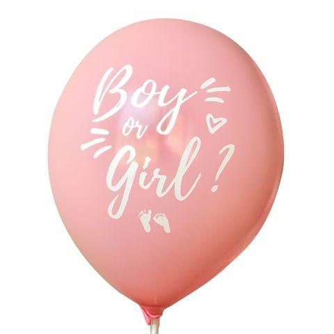 """Rosa Luftballon mit weißem Aufdruck """"Boy or girl?"""" und Füßchen und Herzchen."""
