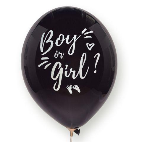 """Schwarzer Ballon mit weißer Aufschrift """"Boy or girl?"""", Herzchen und Füßchen."""