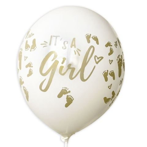 """weiße Ballons mit Aufdruck in gold """"It's a girl""""  mit Füsschen, rundum bedruckt."""