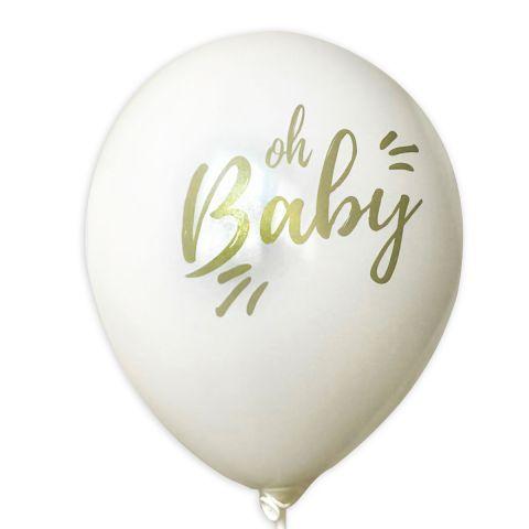 """Luftballons """"Oh Baby"""" – weiße Ballons mit goldenem Aufdruck (10 Stück)"""