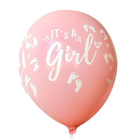 "Luftballons ""It's a Girl"" – rosa Ballons mit weißem Aufdruck (10 Stück)"