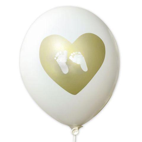 """Luftballons """"Herz mit Füßchen"""" – weiße Ballons mit goldenem Aufdruck (10 Stück)"""