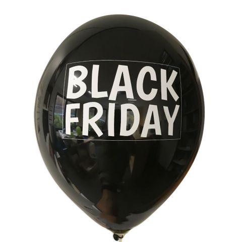 """Schwarzer Ballon mit weißem Aufdruck """"BLACK FRIDAY"""" in weißem Rahmen."""