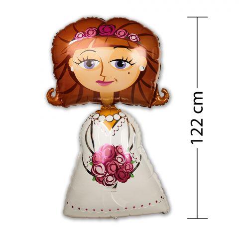 """Folienballon """"Braut mit weißem Kleid und Blumenstrauß"""", Größe ca. 122 cm"""