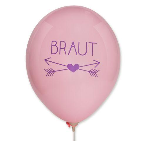 """Luftballon in rosa mit einem liafarbenen Aufdruck """"BRAUT"""". Darunter sind 2 gekreuzte Pfeile mit einem mittigen Herz."""