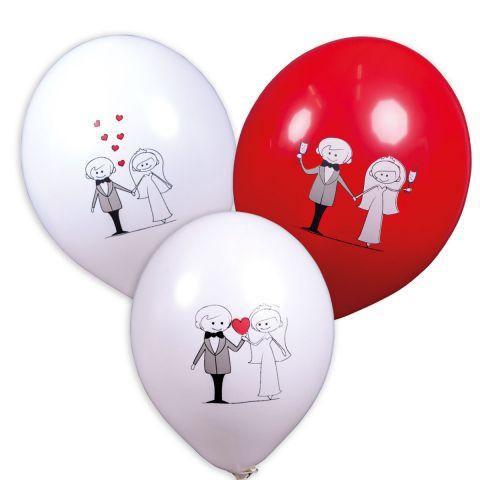 Rote und weiße Ballons mit verschiedenen Motiven: Brautpaar mit herz in der Mitte, Brautpaar Hand in Hand mit Herzchen darüber, Brautpaar Hand ind Hand mit Sektgläsern.