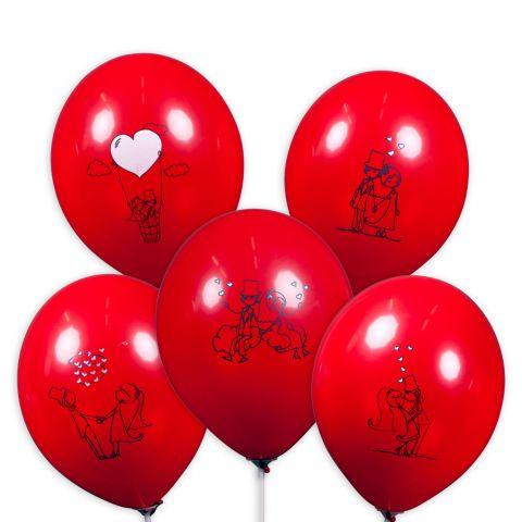 Übersicht 5 rote Ballons mit unterschiedlichen Brautpaar-Motiven.