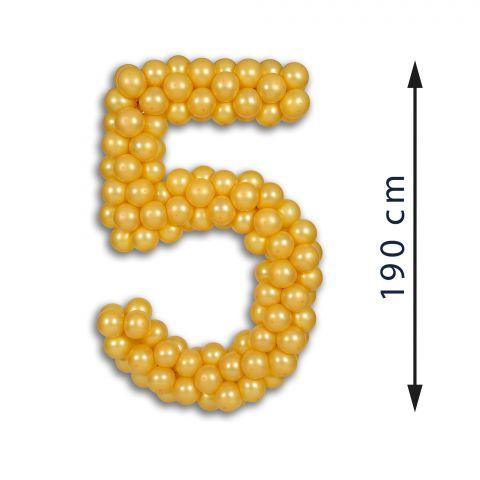 Easy-Fix-Maxi-Zahl 5 aus goldenen Ballons, 190 cm hoch