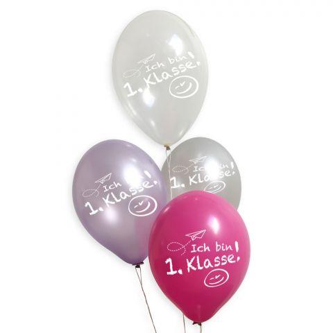 """Luftballons zur Einschulungsparty in rosa, pink, lila, transparent und silebr mit dem Aufdruck """"Ich bin 1. Klasse!"""""""