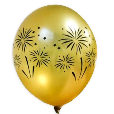 Goldener ballon mit schwarzem Feuerwerk-Aufdruuck, rundum.