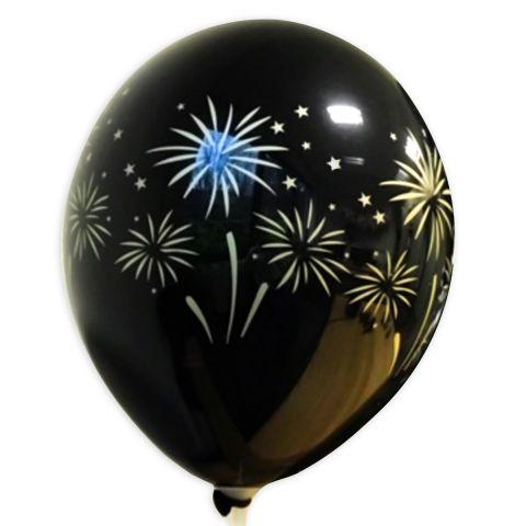 Schwarzer Luftballon aufgedrucktem, goldenen mit Feuerwerk, rundum.