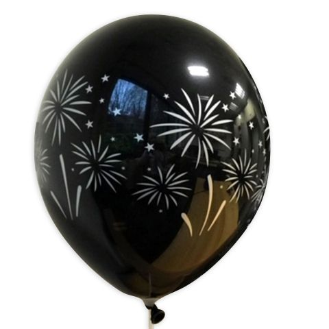 """Schwarzer Ballon mit silbernem Aufdruck """"Feuerwerk"""", rundum."""