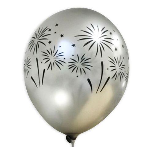 Silberne Ballons mit shcwarzem Feuerwerk-Aufdruck, rundum.