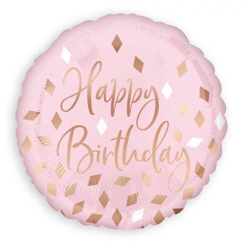 """Rosafarbener Folienballon mit goldener Aufschrift """"Happy Birthday"""" und goldenen und weißen Rauten drumherum"""