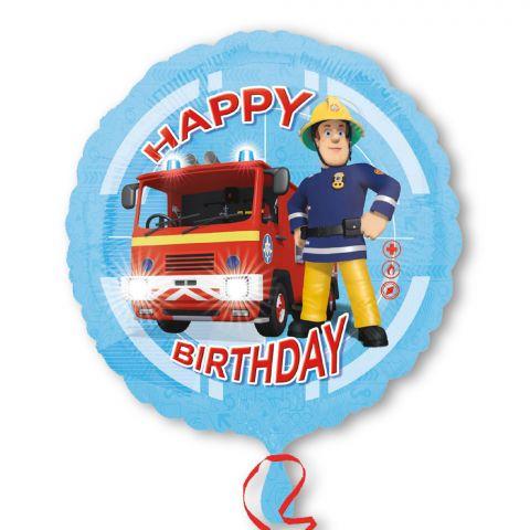 """Folienballon rund, Feuerwehrmann Sam udn Aufdruck """"Happy Birthday"""""""