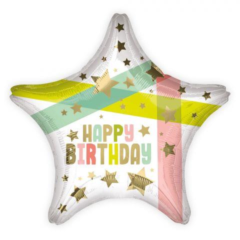 """Folienballon in Sternform mit dem Aufdruck """"Happy Birthday"""" in gold und goldenen Sternen und Pastellfarbenen Streifen"""