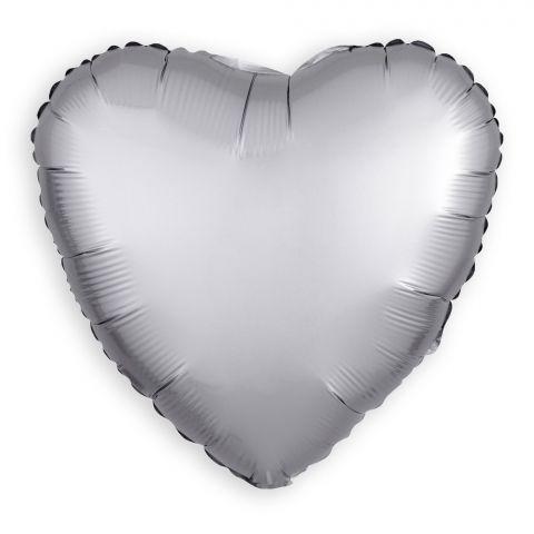 Folienballon Herz Platinum/Silber (43 cm)