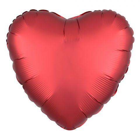 Folienballon in Herzform, Farbe Sangria rot