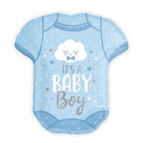 """Folienballon in hellblau in Form eines Babybodies. Aufschrift """"It's a Baby Boy""""."""