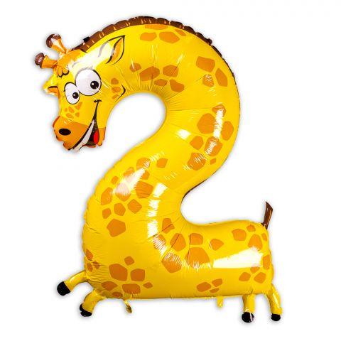 Folienballon Giraffe, Zahl 2, in gelb mit orangen Punkten auf Rücken