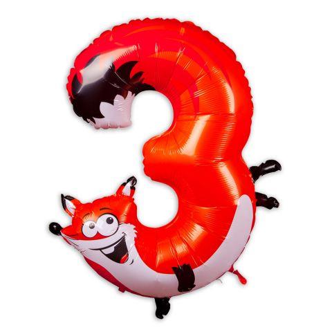 """Große """"3"""" als Folienballon in orange/weiß, Tiermotiv: Fuchs."""