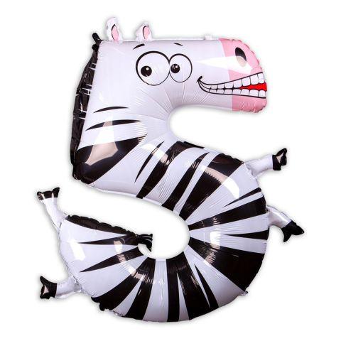 Folieballon, Zahl 5 als Zebra, schwarz-weiß, Größe102cm