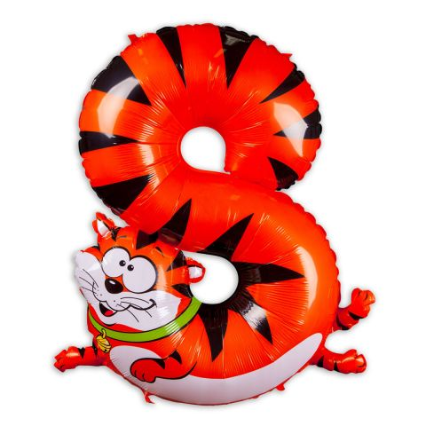 """Große """"8"""" als Folienballon in orange/weiß/schwarz, Tiermotiv: Katze."""