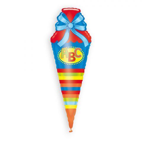 """Bunter Folienballon in Schultütenform mit Aufdruck """"ABC"""""""