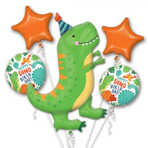 "Folienballons zum Thema Dino-Party. 1 großer, grüner  Dino, 2 orangene Sternballons und 2 runde ""Happy Dino-Birthday"" Folienballons."