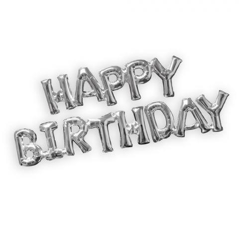 "Folienballon-Kette, Schriftzug ""Happy Birthday"" in silber"