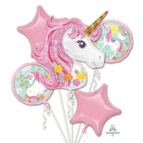 5 verschiedene Folienballons in rosa und weiß zum Thema Einhorn, Kindergeburtstag