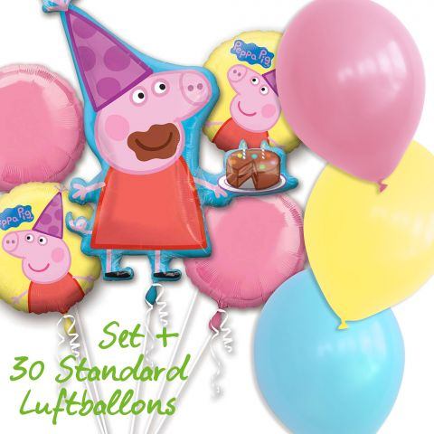 Folienballonset Peppa Pia und Standard Luftballons in rosa, gelb und hellblau