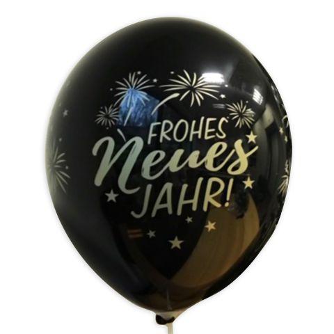 """Schwarzer Luftballon mit goldenem Aufdruck """"Frohes neues Jahr"""" und Feuerwerk, rundum."""