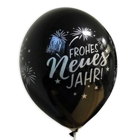 """Schwarzer Luftballon mit silbernem Audruck """"Frohes neues Jahr"""" mit Feuerwerk."""