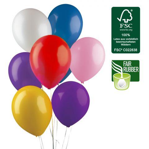 bunt gemischte FSC-Ballons, hergestellt aus Fair Rubber, Größe 105cm Umfang.