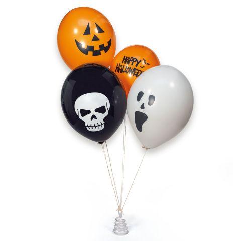 Gasgefüllte orange, schwarze und weiße Ballons mit aufgedrucktem Halloweenmotiv. Kürbisgesicht, Totenkopf, Halloweenschriftzug, Geistergesicht.