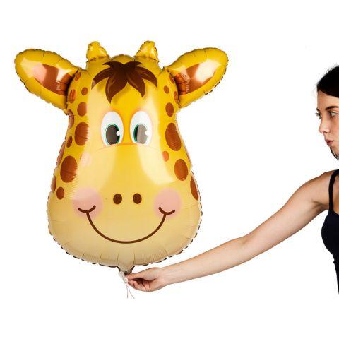 Folienballon Giraffe, 81 cm groß, gelb mit Punkten, Ansicht im Verhältnis zu einer Person