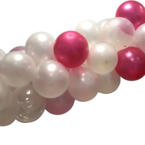 Metallicfarbene Girlande in Rosa, pink, weiß und transparent