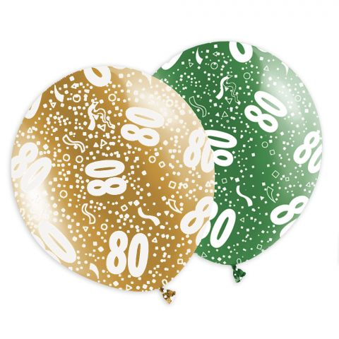 """Rundum bedruckte, bunte Luftballons mit weißem Aufdruck """"80"""" fürs Jubiläum, runden Geburtstag oder das Familienfest."""
