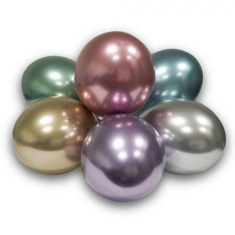 Glossy Luftballons in pink, green, silbver, green, blue und gold. Tolle Chromoptik.