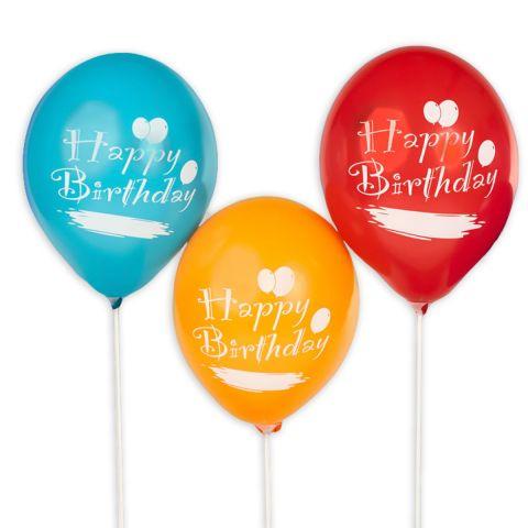 """Bunte Ballons mit weißem Aufdruck """"Happy Birthday"""" und Feld zum Beschriften."""