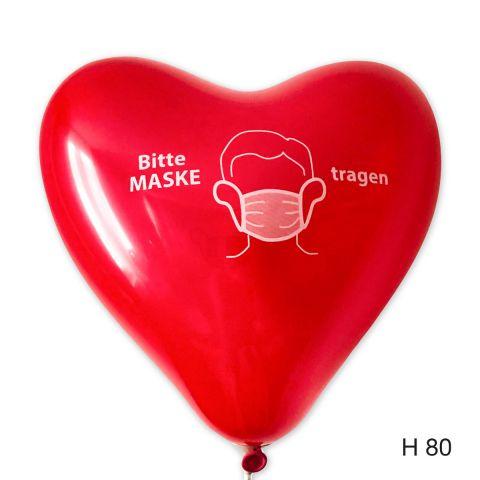 """Roter Herzballons mit Aufdruck """"Bitte Maske tragen"""""""